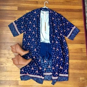 Long floral kimono, navy blue with red flowers