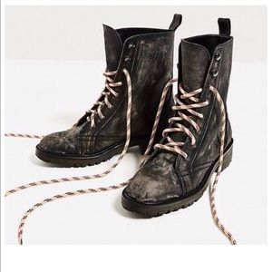 Real leather army boots