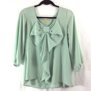 Takara Tops - Takara mint green bow top