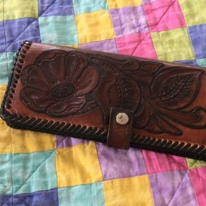 Old hand tooled wallet