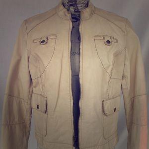 Gorgeous White/ Cream Moto Jacket (real leather)