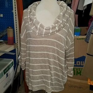 Gold and white striped sweater cowl neck