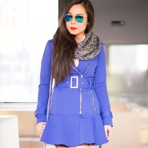 Bebe Flare Skirt Trench Jacket in Clemantis Blue