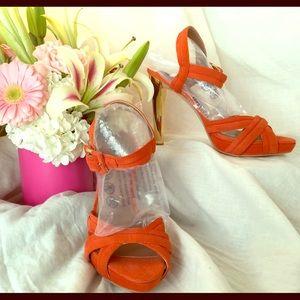 Ava & Aiden Shoes - Ava & Aiden orange suede platform w/ankle strap.