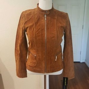 Bernardo Jackets & Blazers - Sale...Bernardo Medium Cognac Suede Moto Jacket