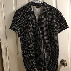 Black and white polka dot button up shirt