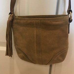 Coach Handbags - Authentic Coach Tan Suede Crossbody Bag. Like New