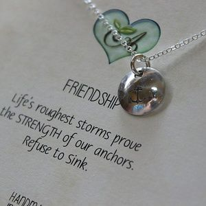 Anchor Friendship Necklace, Sterling Silver