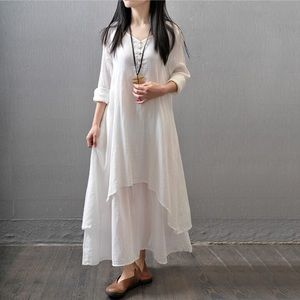 Dresses & Skirts - White Linen blend dress