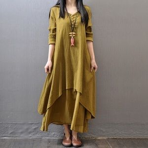 Dresses & Skirts - Yellow/greenish linen blend dress