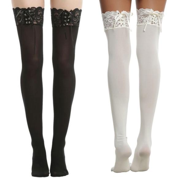 6b33f756b67 Lace up thigh high socks