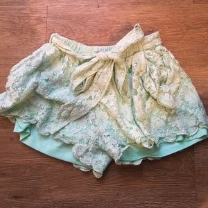 Mint green lace shorts!