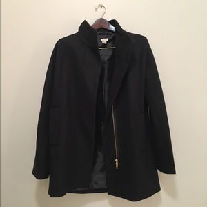 J. Crew Factory City Coat Black w/ Gold Zipper
