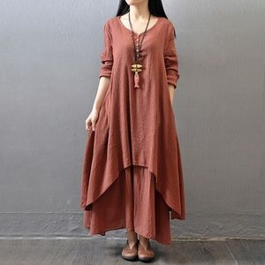 Dresses & Skirts - Burgundy linen blend dress