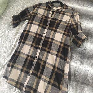 LOFT Dresses & Skirts - Loft petite plaid shirt dress
