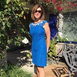 Adrianna Papell blue dress sleeveless