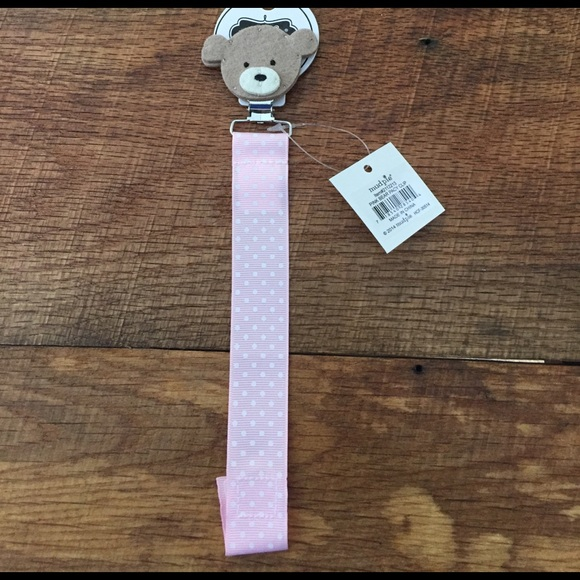 2418884750f0 Mud pie bear pacifier clip