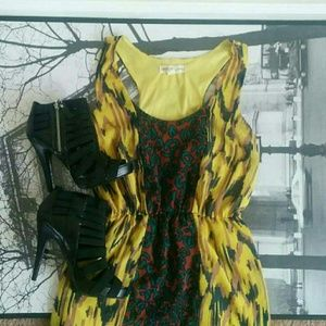 Staring at Stars Dresses & Skirts - Urban Outfitters Yellow Multiprint Summer Dress