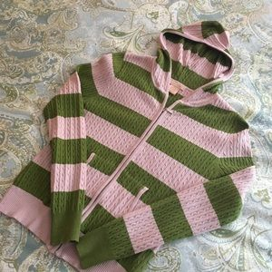 Sweet Romeo Sweaters - SWEET ROMEO pink and green hoodie