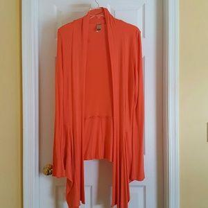 Long Elegant Legs Sweaters - Orange Waterfall Cardigan (Tall XL)