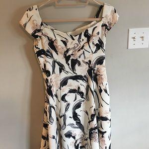 Zara basic cream printed dress