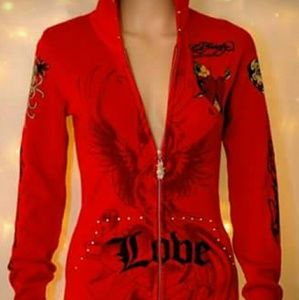 Christian Audigier Sweaters - Christian Audigier Red Sweater Hoodie