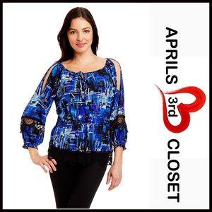 ECI Tops - ECI Cold Shoulders Embellished Blouse