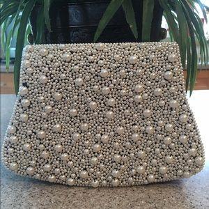 La Regale Handbags - La Regale Navy blue evening bag/white beads