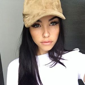 Camel faux suede baseball dad hat