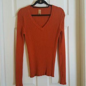 Long Elegant Legs Sweaters - Long Sleeve Orange Sweater (Tall XL)