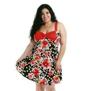Dresses & Skirts - Plus size red floral dress 1x 2x 3x