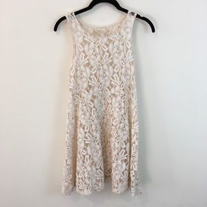 Free People Dresses & Skirts - Free People Ivory Lace Sheer Skater Dress