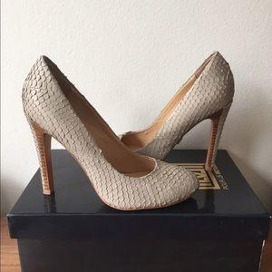 Pour la Victoire Shoes - Pour La Victoire Haya Gray Snake Python Pumps
