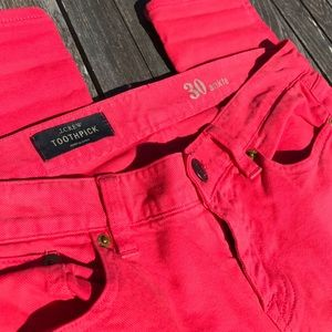 J. Crew Toothpick Ankle Coral Watermelon Jeans 30