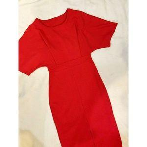 SALE \\Red Cape BodyCon Midi Dress