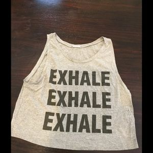 Electric Yoga Tops - EXHALE Cotton muscle tee crop top gray S