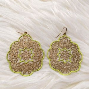 Lime Green & Gold Earrings