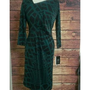 Etcetera Dresses & Skirts - NWT ETCETERA teal and black knee length dress sz 4
