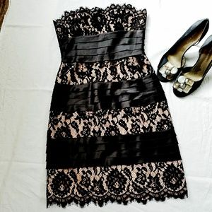 BCBG dress in black and lace in size 0