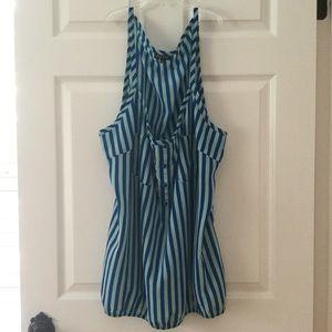 Neon Blue Striped Oversized Top or Mini Dress