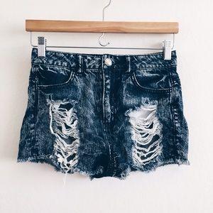 [almost famous] • [hi-rise acid jean shorts]
