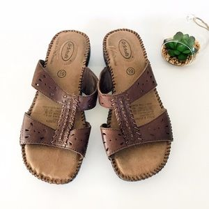 Dr. Scholl's Shoes - Dr. Scholls Brown Leather Sandals Dolly II Dolly 2