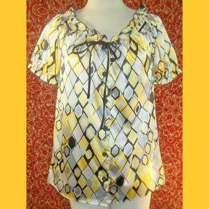 CHENAULT  Tops - CHENAULT Yellow satin short sleeve tunic blouse S