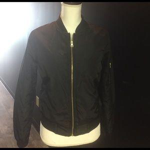New Look Jackets & Blazers - New look black bomber jacket gold zipper nwt