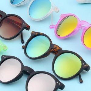 Accessories - Round MIRROR Lense PINK Retro SUNGLASSES Gold BLUE