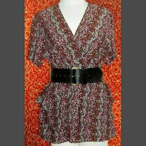 CJ BANKS  Tops - CJ BANKS pink, wine floral short sleeve blouse 14W