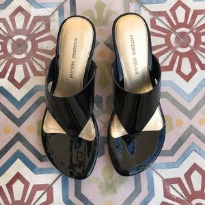 ANTONIO MELANI Shoes - ANTONIO MELANI BLACK PATENT LEATHER SANDALS SZ 7.5