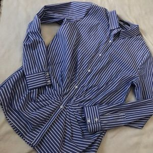 Thakoon Tops - Thakoon Blue and White Striped Ruched Button Down