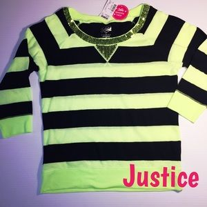 Justice Other - Justice NWT girls neon striped top Sequin bling 12