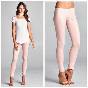 Pale Pink Oil Slick Vegan Leather Legging S M L